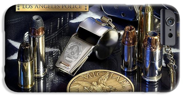 Law Enforcement iPhone Cases - Los Angeles Police St Michael iPhone Case by Gary Yost