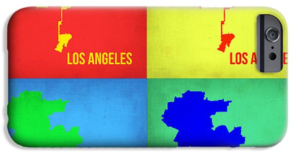 California Map iPhone Cases - Los Angeles Pop Art Map 1 iPhone Case by Naxart Studio