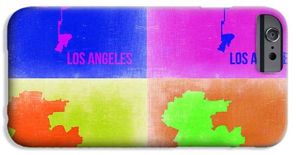 California Map iPhone Cases - Los Angeles Pop Art Map 2 iPhone Case by Naxart Studio