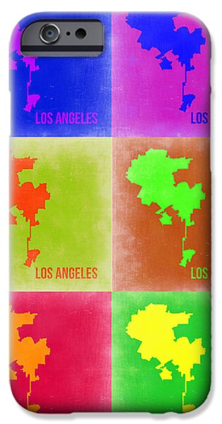 California Map iPhone Cases - Los Angeles Pop Art Map 3 iPhone Case by Naxart Studio