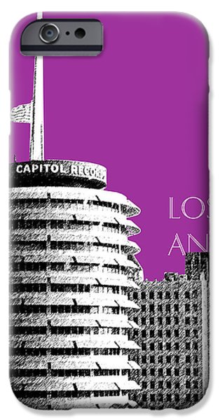 Mid-century Modern Decor iPhone Cases - Los Angeles Skyline Capitol Records - Plum iPhone Case by DB Artist