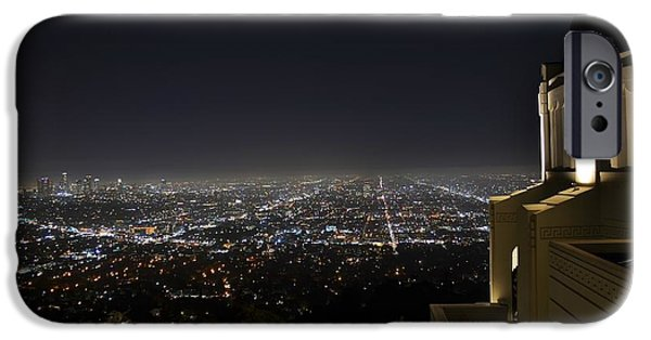 Night Angel iPhone Cases - Los Angeles Skyline from Griffith Observatory iPhone Case by David Lobos