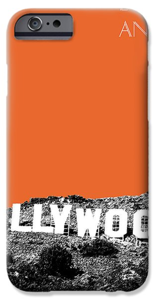 Sign iPhone Cases - Los Angeles Skyline Hollywood - Coral iPhone Case by DB Artist