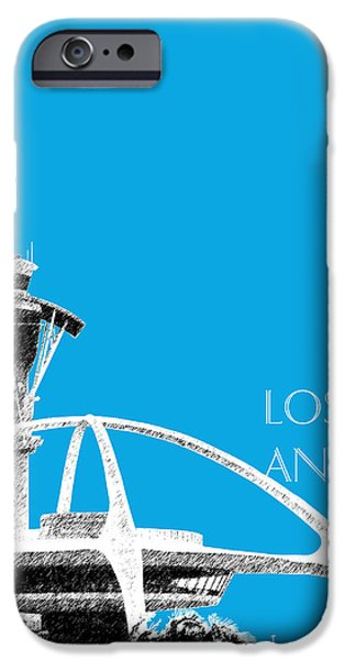 Pen And Ink iPhone Cases - Los Angeles Skyline LAX Spider - Ice Blue iPhone Case by DB Artist