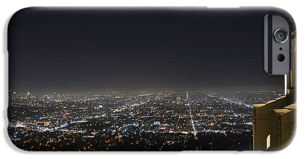 Night Angel iPhone Cases - Los Angeles Skyline Panorama from the Griffith Observatory iPhone Case by David Lobos