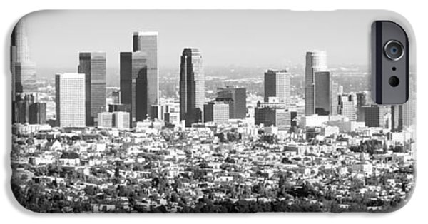 Business Photographs iPhone Cases - Los Angeles Skyline Panorama Photo iPhone Case by Paul Velgos