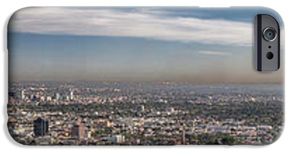 Skylines Pyrography iPhone Cases - Los Angeles Skyline Panorama iPhone Case by Will D