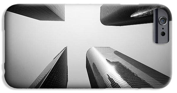 Business Photographs iPhone Cases - Los Angeles Skyscraper Buildings in Black and White iPhone Case by Paul Velgos