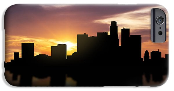 Skylines Mixed Media iPhone Cases - Los Angeles Sunset Skyline  iPhone Case by Aged Pixel