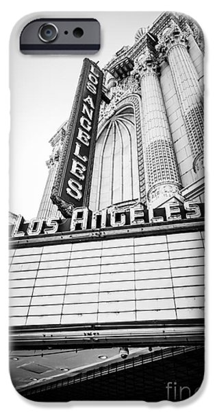 Venue iPhone Cases - Los Angeles Theatre Sign in Black and White iPhone Case by Paul Velgos