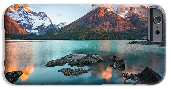 Chile iPhone Cases - Los Cuernos Dawn iPhone Case by Inge Johnsson