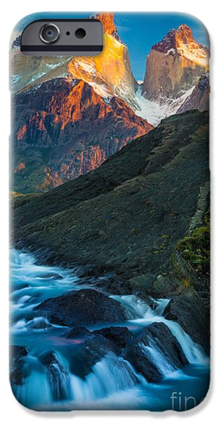 Chile iPhone Cases - Los Cuernos Falls iPhone Case by Inge Johnsson
