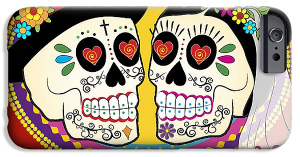 Bride iPhone Cases - Los Novios Sugar Skulls iPhone Case by Tammy Wetzel