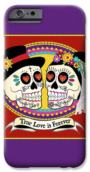 Los Novios Sugar Skulls iPhone Case by Tammy Wetzel