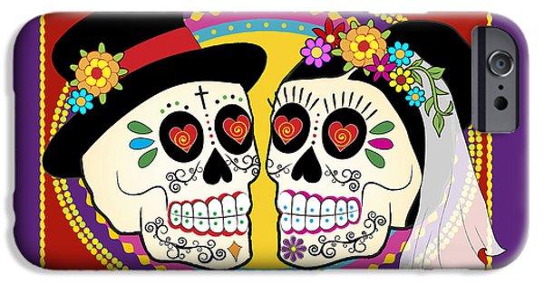 Romance iPhone Cases - Los Novios Sugar Skulls iPhone Case by Tammy Wetzel