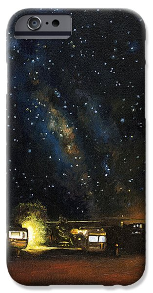 Trailers iPhone Cases - Los Rancheros RV Park iPhone Case by Leah Saulnier The Painting Maniac