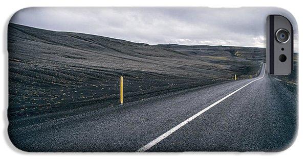 Asphalt iPhone Cases - Lost Highway iPhone Case by Evelina Kremsdorf