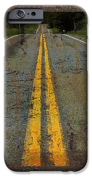 Asphalt iPhone Cases - The Road Goes On Forever iPhone Case by John Stephens