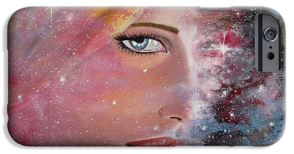 Outer Space Paintings iPhone Cases - Lost in Space iPhone Case by Marina Gerges