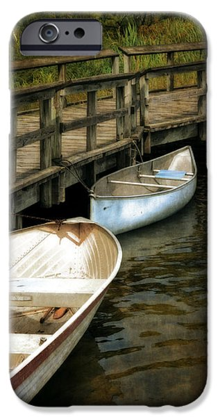 Canoe iPhone Cases - Lost Lake Boardwalk iPhone Case by Michelle Calkins