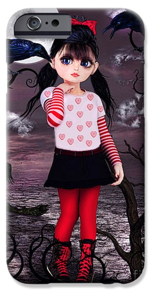 Crows iPhone Cases - Lost little girl iPhone Case by Alicia Hollinger