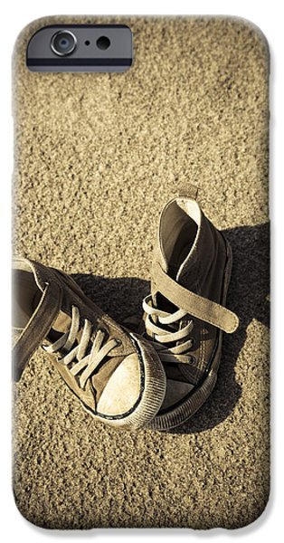 Missing Child iPhone Cases - Lost shoes iPhone Case by Maria Heyens