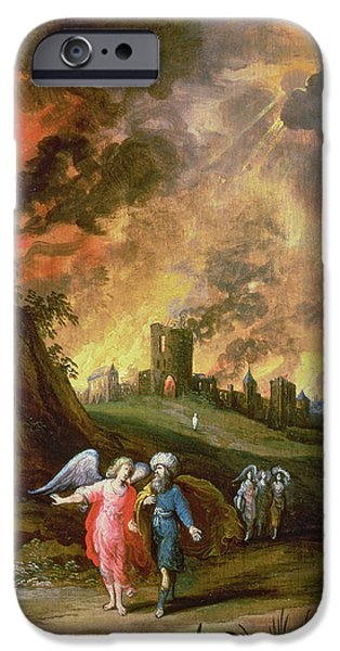 Destruction iPhone Cases - Lot And His Daughters Leaving Sodom iPhone Case by Louis de Caullery