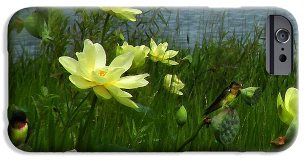 Barn Swallow Digital Art iPhone Cases - Lotus and Swallows iPhone Case by Deborah Smith