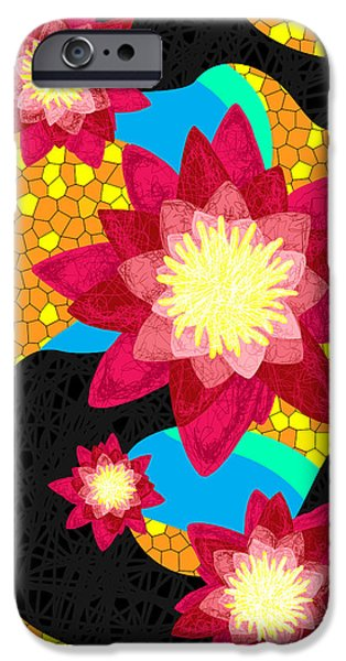Lotus Flower Bombs In Magenta iPhone Case by Kenal Louis