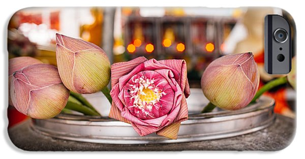 Self Awareness iPhone Cases - Lotus Flower Offering iPhone Case by Dean Harte