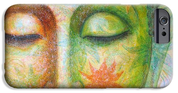 Buddhism Paintings iPhone Cases - Lotus Meditation Buddha iPhone Case by Sue Halstenberg