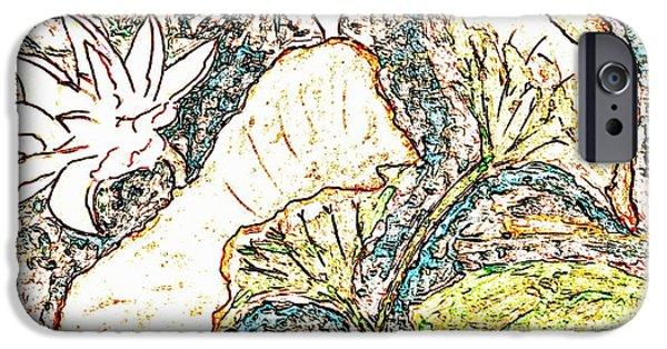 Abstract Digital Drawings iPhone Cases - Lotus iPhone Case by  Renee McDaniel
