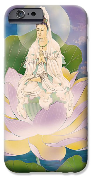 Bodhisattva iPhone Cases - Lotus-sitting Avalokitesvara  iPhone Case by Lanjee Chee