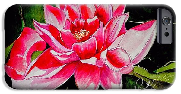 Nature Study Paintings iPhone Cases - Lotus Water Color iPhone Case by Pallavi Gupta