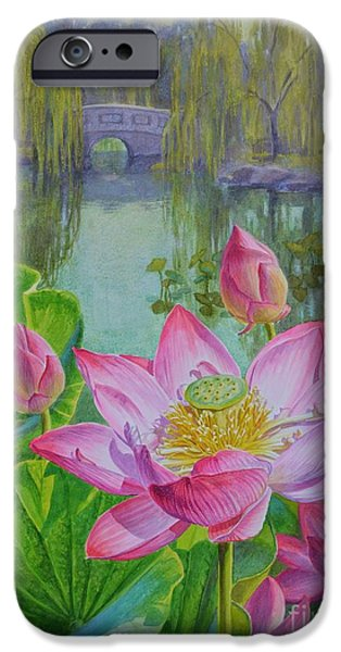 Flora Pastels iPhone Cases - Lotuses in a Chinese Garden 1 iPhone Case by Fiona Craig