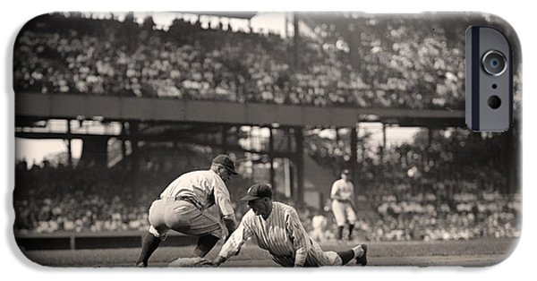 Beloved iPhone Cases - Lou Gehrig Playing First Base iPhone Case by Mountain Dreams