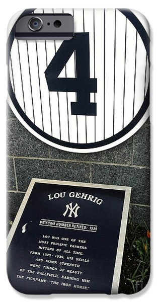 New York Baseball Parks iPhone Cases - Lou Gehrig Tribute Yankee Stadium iPhone Case by Amy Cicconi