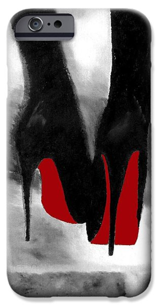 Shoe iPhone Cases - Louboutin At Midnight Black and White iPhone Case by Rebecca Jenkins