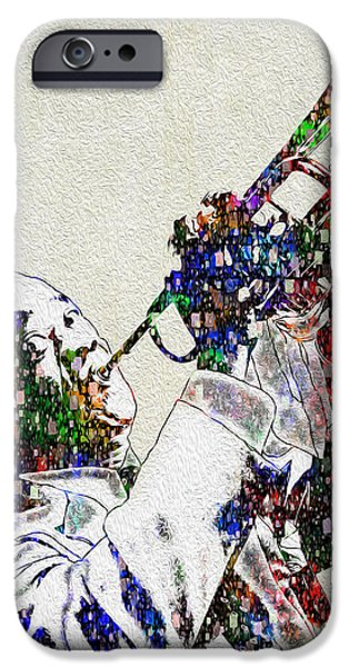 African-american Digital Art iPhone Cases - Louie Armstrong 2 iPhone Case by Jack Zulli