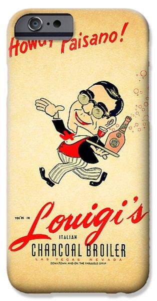 Menu iPhone Cases - Louigis Las Vegas 1960 iPhone Case by Mark Rogan