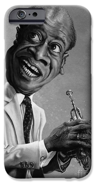 Caricature Digital iPhone Cases - Louis Armstrong iPhone Case by Andre Koekemoer