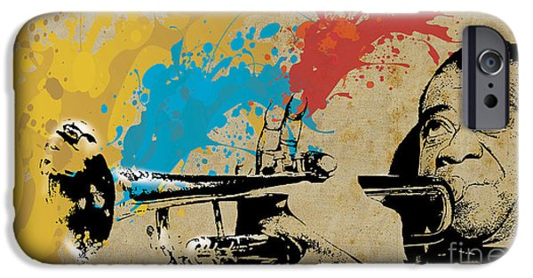 Music Drawings iPhone Cases - Louis Armstrong Trumpet and Colors iPhone Case by Pablo Franchi