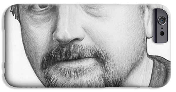 Celebrities Art Drawings iPhone Cases - Louis CK Portrait iPhone Case by Olga Shvartsur