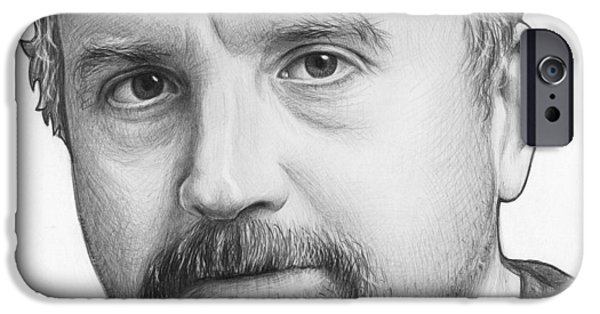 Celebrity Drawings iPhone Cases - Louis CK Portrait iPhone Case by Olga Shvartsur