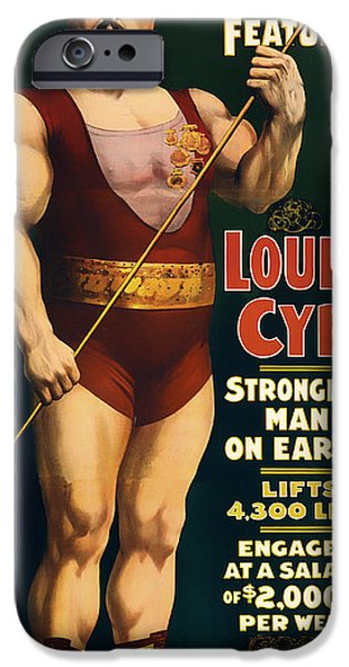 Posters On Mixed Media iPhone Cases - Louis Cyr - Strongest Man on Earth iPhone Case by Mountain Dreams