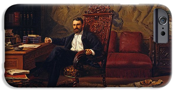Sit-ins Paintings iPhone Cases - Louis Signorino seated in his study  iPhone Case by Gustave Bourgain