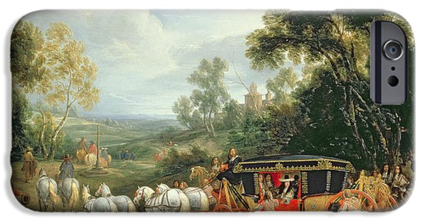 Horse And Cart Paintings iPhone Cases - Louis XIV in his state coach iPhone Case by Adam Frans van der Meulen