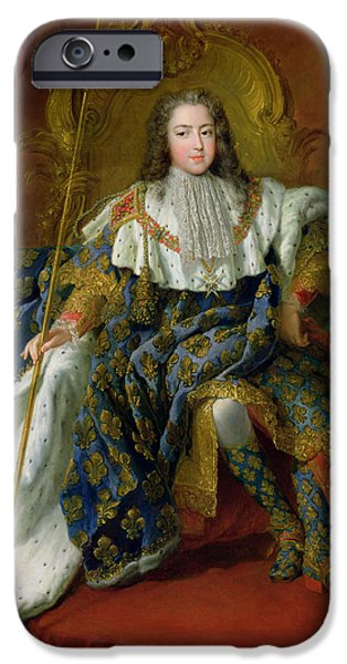 Young Paintings iPhone Cases - Louis XV iPhone Case by Alexis Simon Belle