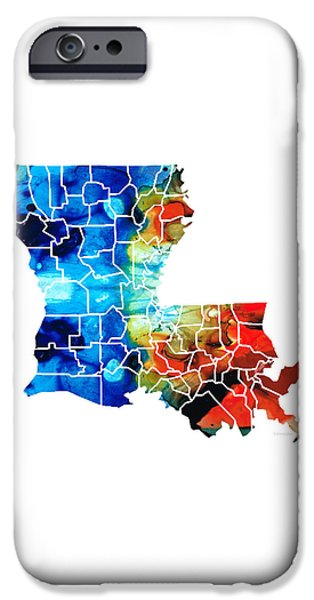 Mardi Gras Paintings iPhone Cases - Louisiana Map - State Maps by Sharon Cummings iPhone Case by Sharon Cummings