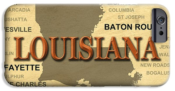 Baton Rouge iPhone Cases - Louisiana State Pride Map Silhouette  iPhone Case by Keith Webber Jr